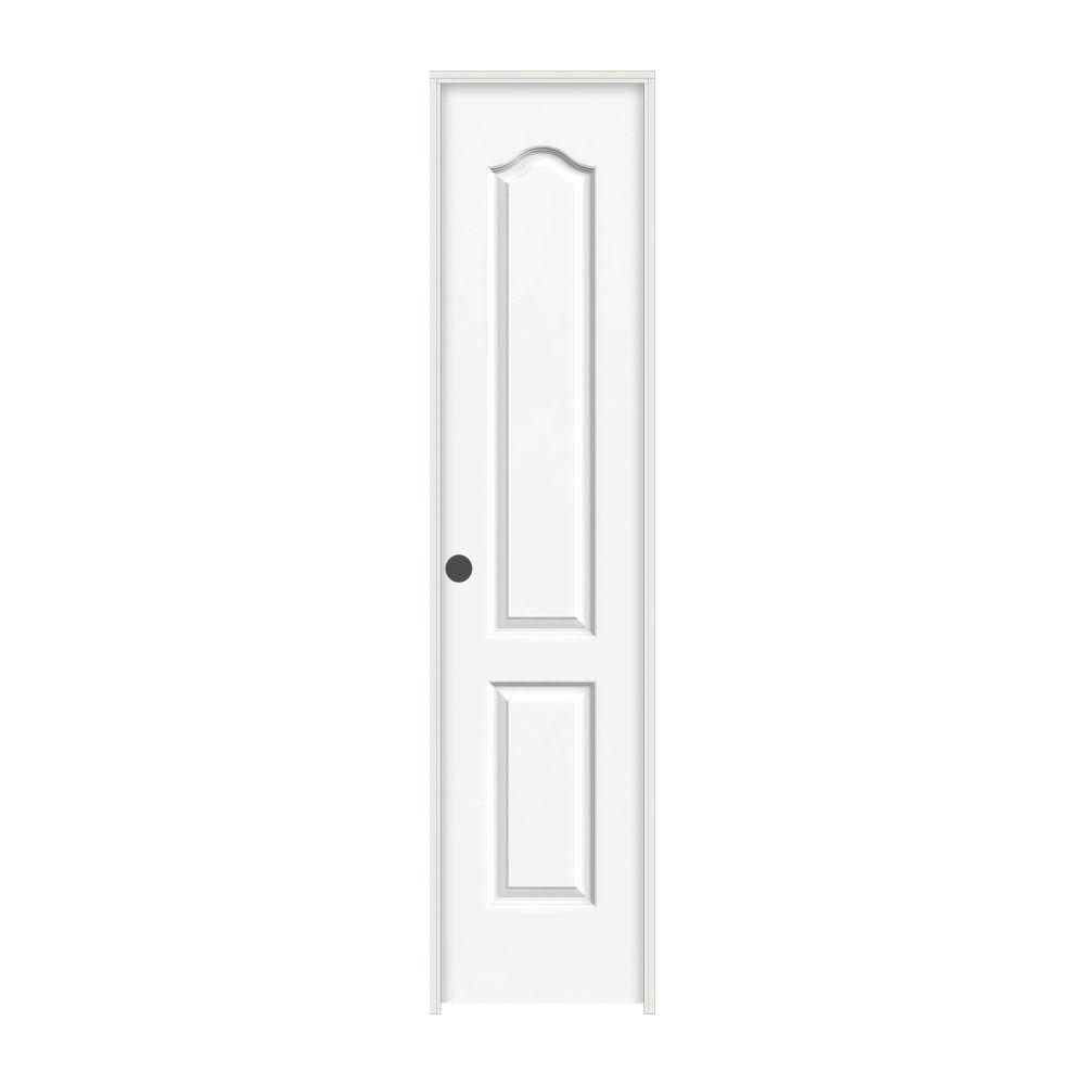 18 in. x 80 in. Camden White Painted Right-Hand Textured Solid