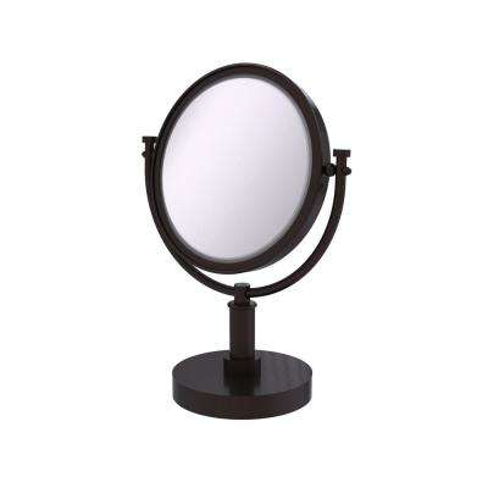 15 in. x 8 in. Vanity Top Make-Up Mirror 4x Magnification in Antique Bronze