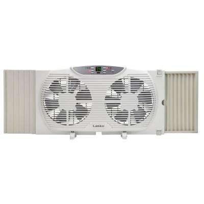 9 in. Remote Control Electronically Reversible Twin Window Fan with Thermostat