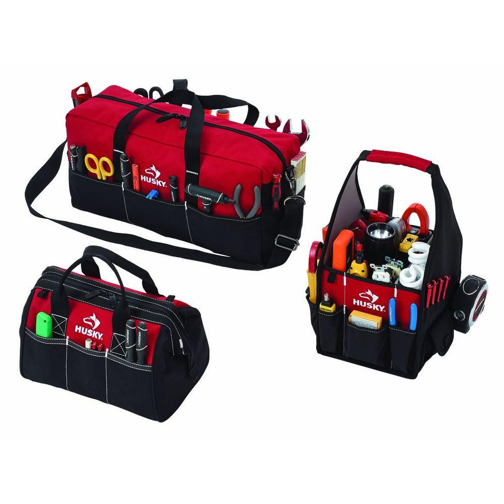 Husky 8 in. 12 in. and 20 in. 3 Tool Bag Combo Red