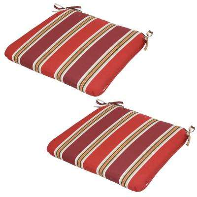 Chili Stripe Outdoor Seat Cushion (Pack of 2)
