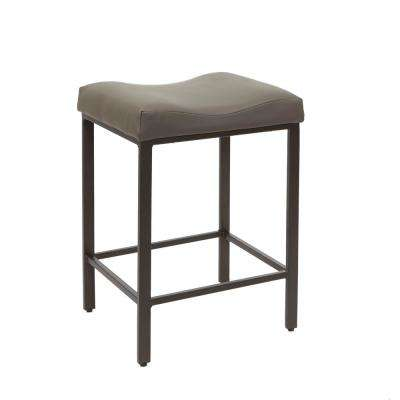 24 in. Charcoal Gunmetal Saddle Barstool