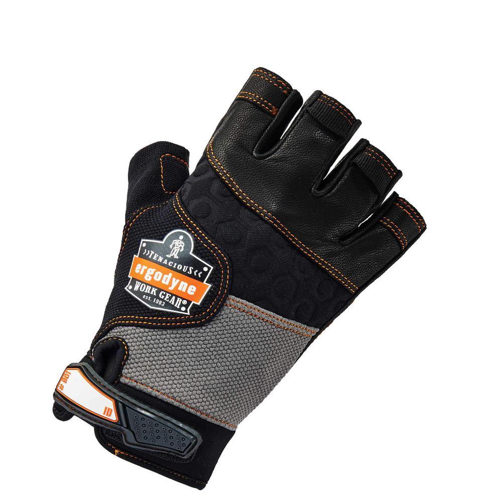 ProFlex Large Half-Finger Leather Impact Work Gloves
