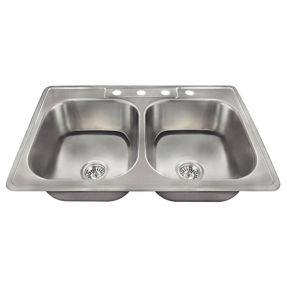 stainless steel drop in kitchen sinks polaris sinks drop in stainless steel 33 in 4 9392