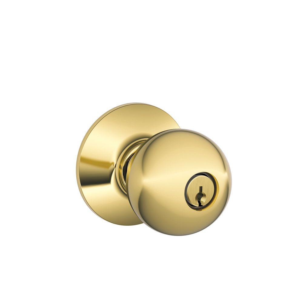 Orbit Bright Brass Keyed Entry Door Knob
