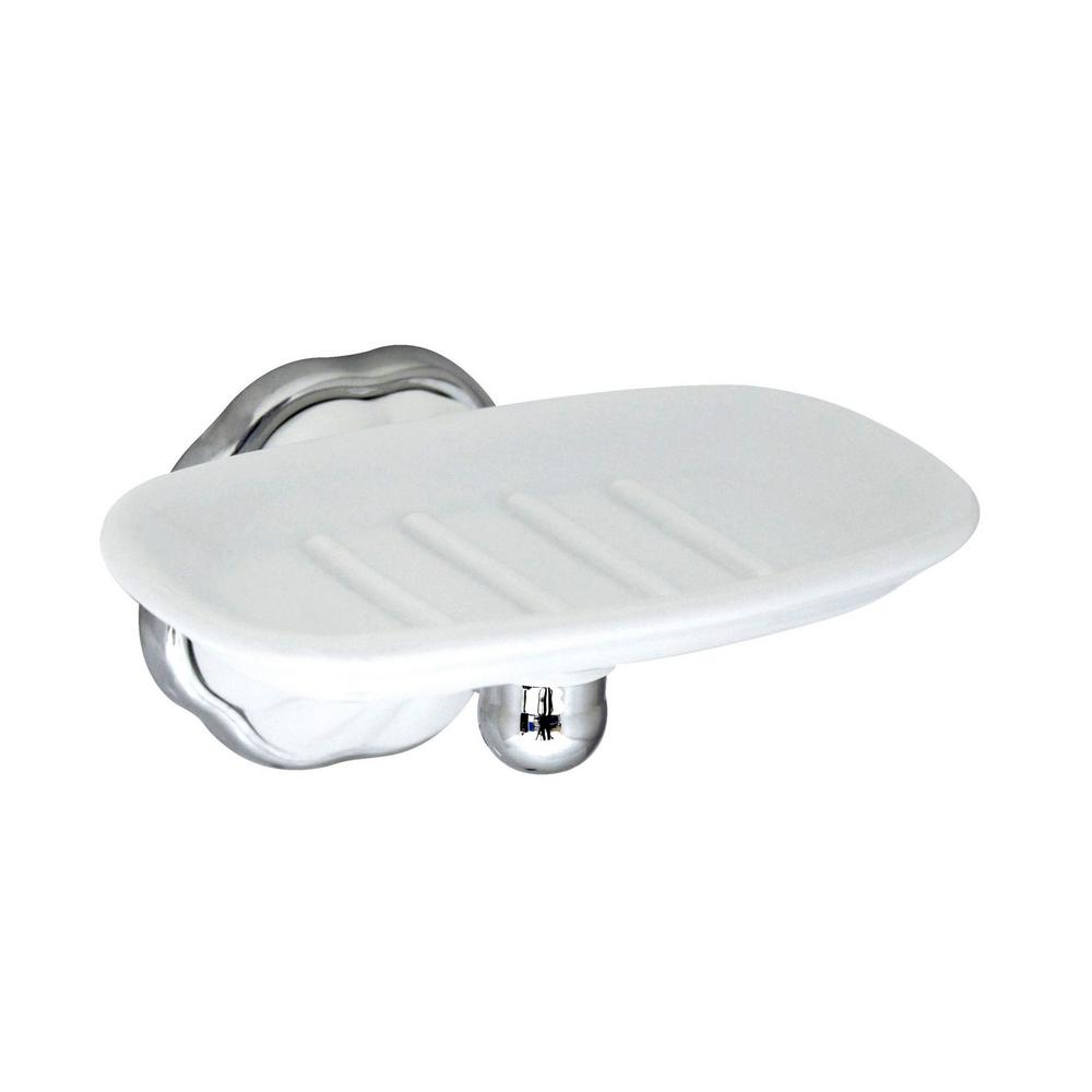 MODONA Flora Porcelain Soap Dish in White Porcelain and Polished Chrome