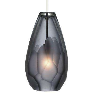 Briolette 4.3 in. W 1-Light Satin Nickel Integrated LED Mini Pendant with Smoke Shade