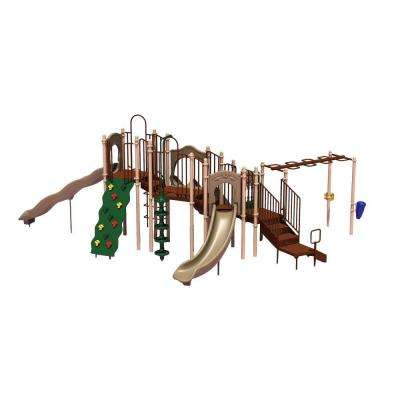 UPlay Today Slide Mountain (Natural) Commercial Playset with Ground Spike