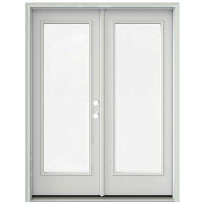 60 in. x 80 in. Primed Prehung Left-Hand Inswing 1 Lite French Patio Door with Brickmould