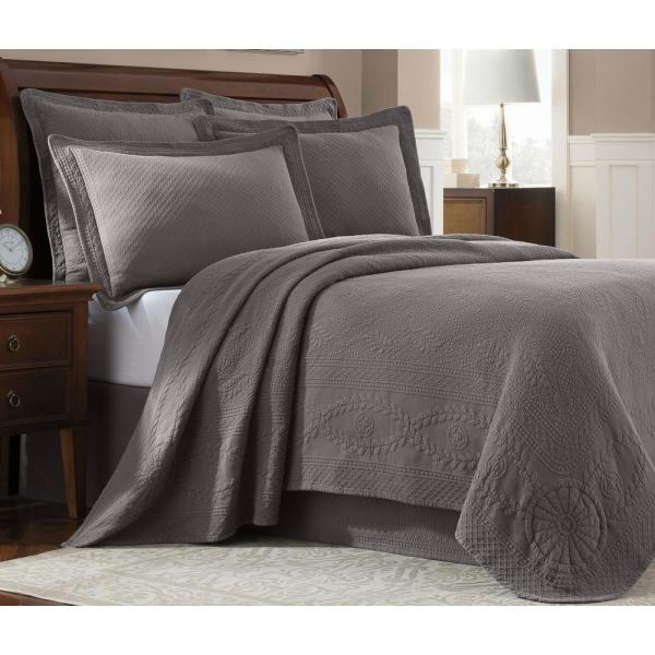 Royal Heritage Home Williamsburg Abby Grey King Coverlet 048975015797