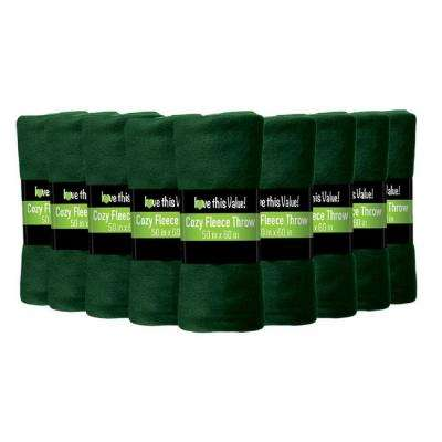 50 in. x 60 in. Dark Green Super Soft Fleece Throw Blanket (12-Pack)