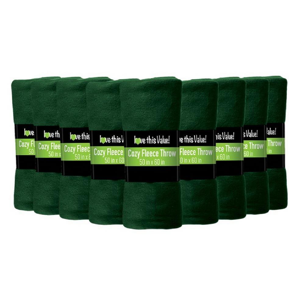 50 in. x 60 in. Dark Green Super Soft Fleece Throw Blanket (12-Pack)