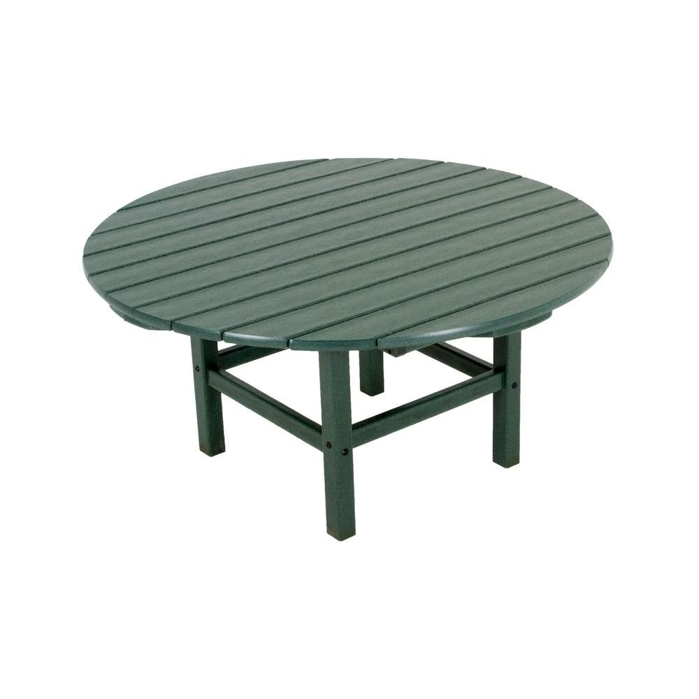 Green 38 in. Round Patio Conversation Table