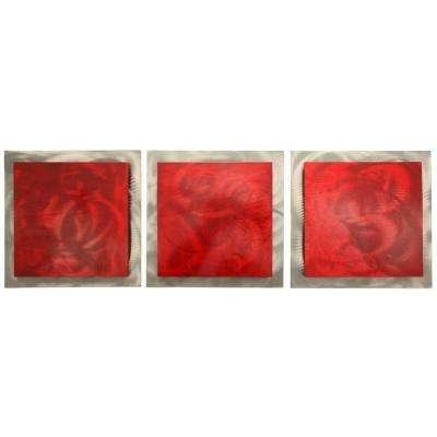 Brevium 12 in. x 38 in. Red Essence Metal Wall Art (Set of 3)