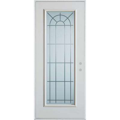 33.375 in. x 82.375 in. V-Groove Full Lite Painted White Left-Hand Inswing Steel Prehung Front Door