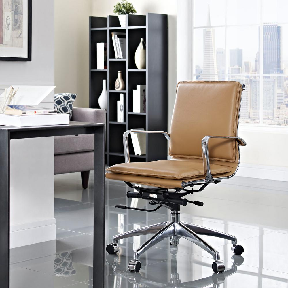 MODWAY Sage Mid Back Office Chair In Tan