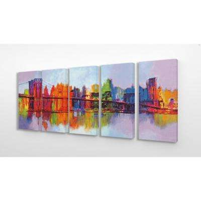 "10 in. x 21 in. ""Rainbow Painted Cityscape and Bridge Reflected"" by Artist Brian Carter Canvas Wall Art(5Pieces)"