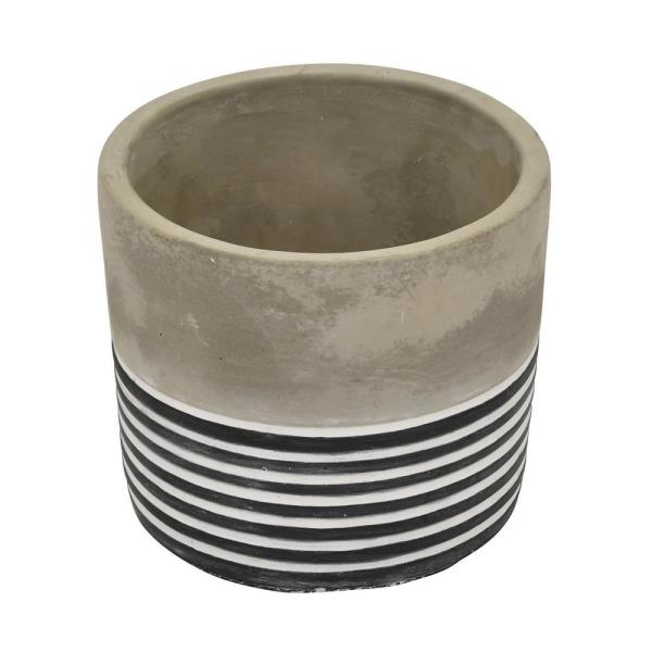 THREE HANDS 4 in. Gray and White - Gray Flower Pot