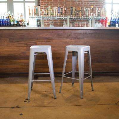 Loft Style 30 in. Stackable Metal Bar Stool in Silver (Set of 2)