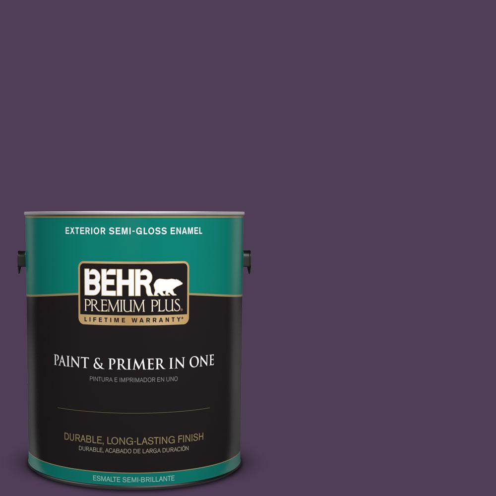 BEHR Premium Plus 1-gal. #S-H-680 Purple Bloom Semi-Gloss Enamel Exterior Paint