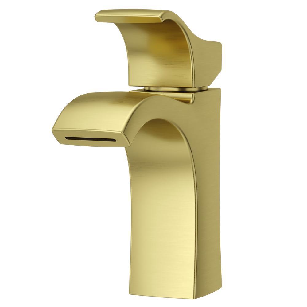 pfister venturi single hole single handle bathroom faucet in brushed gold lf 042 vnbg the home. Black Bedroom Furniture Sets. Home Design Ideas