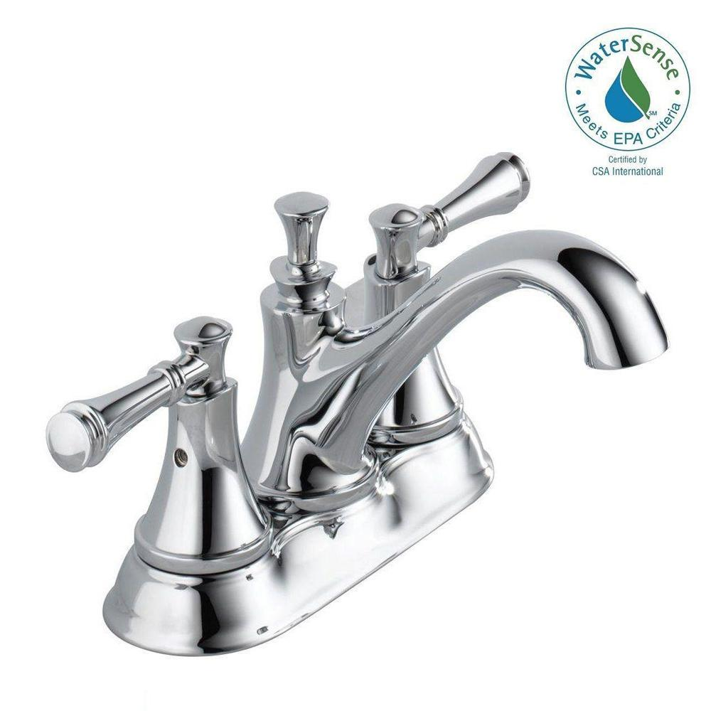 Delta Silverton 4 In Centerset 2 Handle Bathroom Faucet In Chrome 25713lf Eco The Home Depot