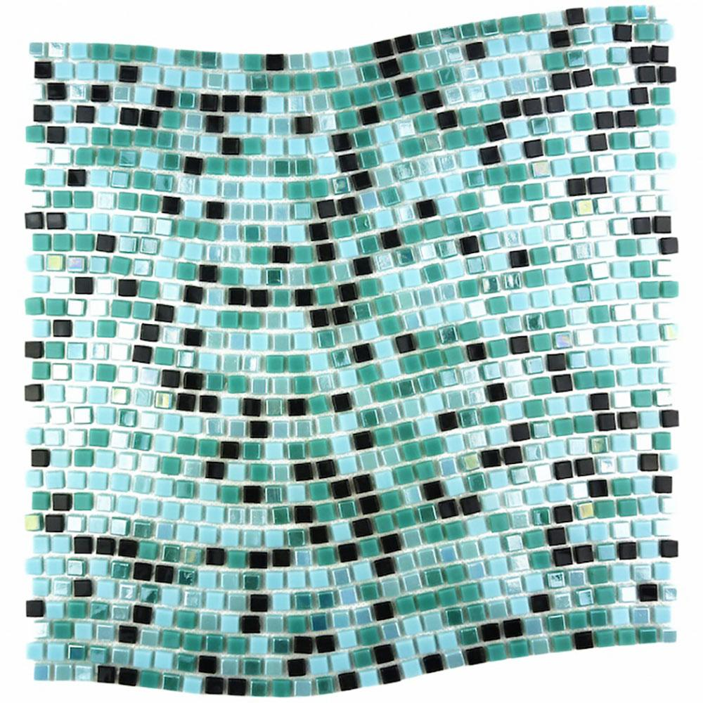 Constellation Wavy Blue Green Mix 11.7 in. x 11.7 in. x