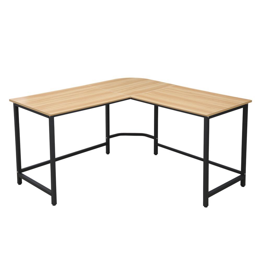 The Tristan Natural Black Compact L-Shaped Office Desk
