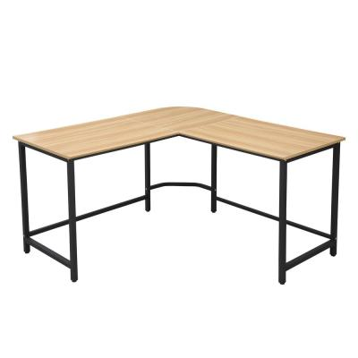 The Tristan Natural Black Compact L-Shaped Office Desk