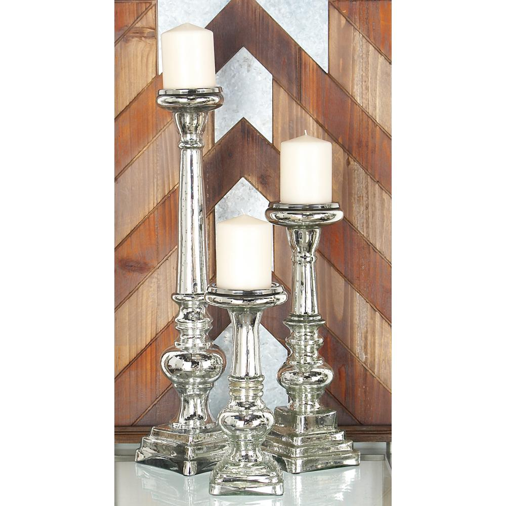 Silver Glass Square-Based Candle Holders (Set of 3)