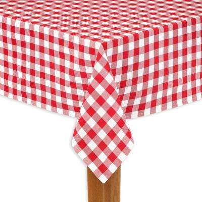 Buffalo Check 60 in. x 104 in. Red 100% Cotton Table Cloth for Any Table