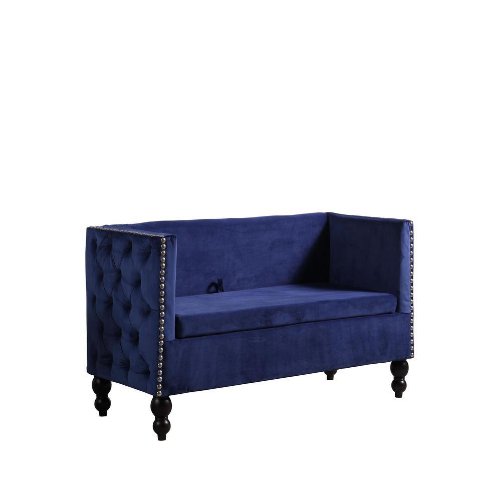 Bon Cobalt Blue Velvet Storage Settee Loveseat