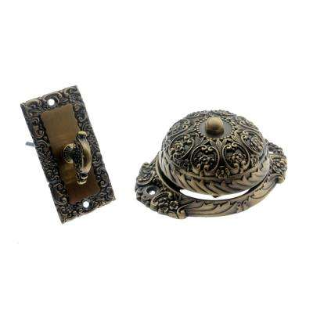 Solid Brass Ornate Mechanical Twist Door Bell in Antique Brass