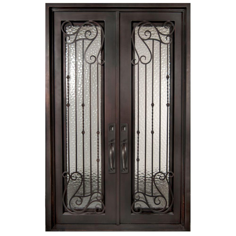 Iron doors unlimited 62 in x 81 5 in armonia classic for Exterior double doors with glass
