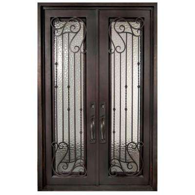 74 in. x 97.5 in. Armonia Classic Full Lite Painted Oil Rubbed Bronze Wrought Iron Prehung Front Door