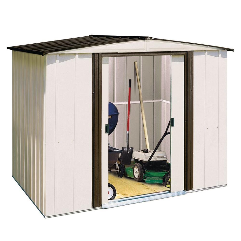 Arrow Newport 10 ft  W x 8 ft  D 2-Tone White Galvanized Metal Shed with  Galvanized Steel Floor Frame Kit
