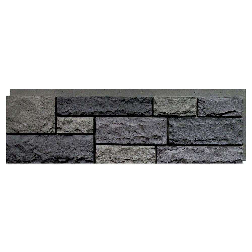 Random Rock Mountain Shadow 15.5 in. x 48 in. Faux Stone Siding Panel (4-Pack)