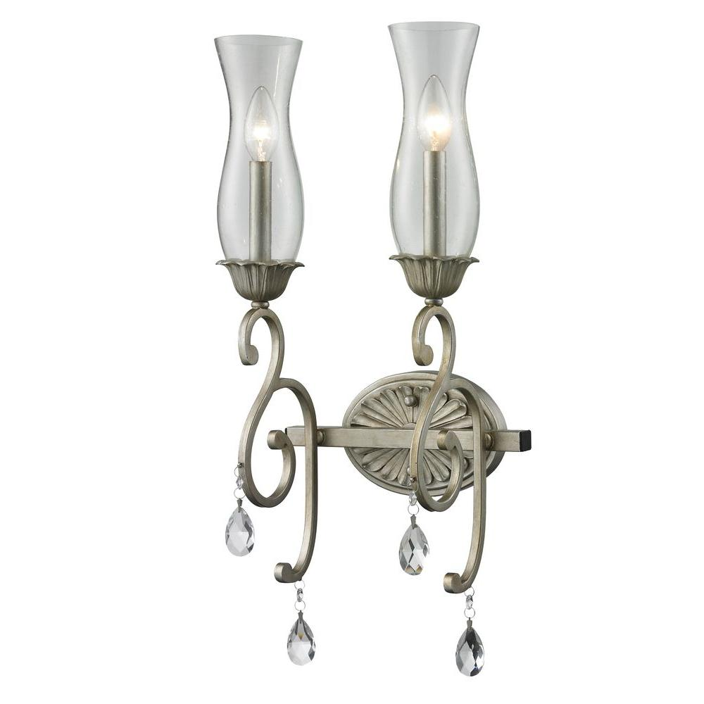 Havana 2-Light Antique Silver Sconce