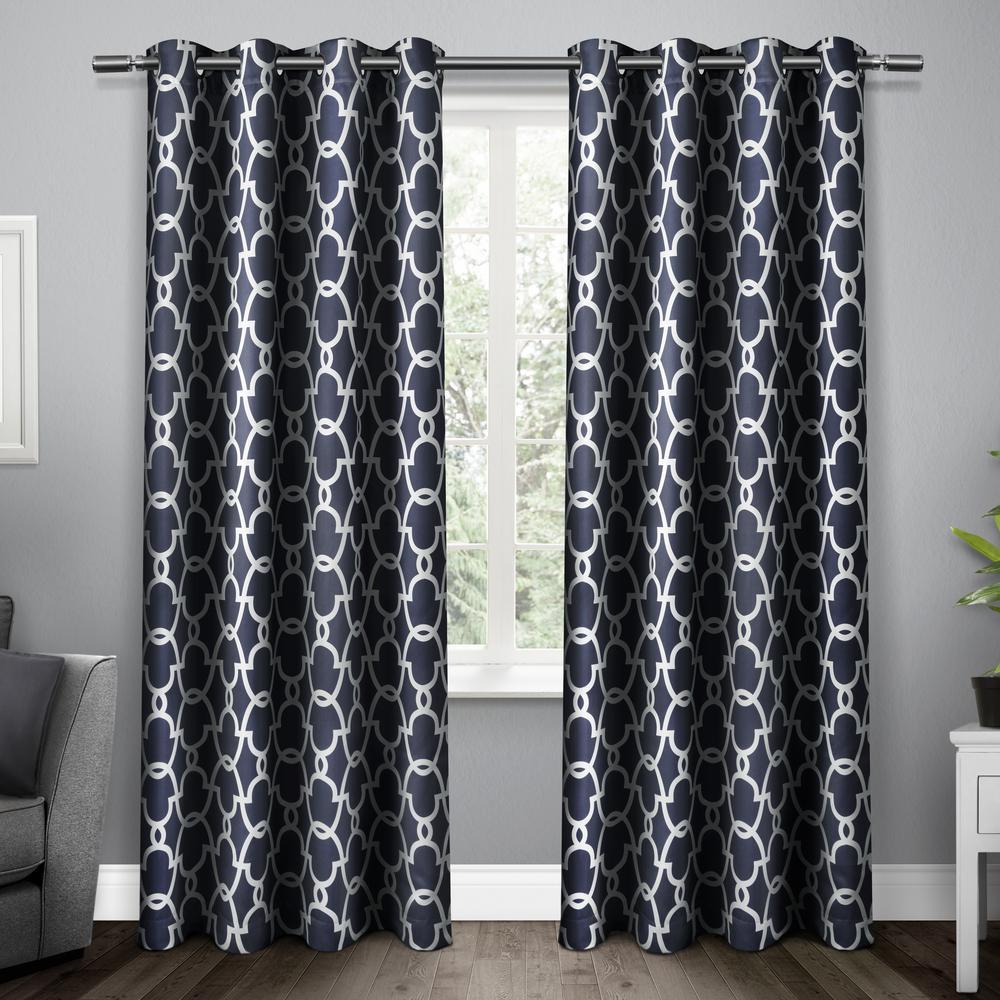Gates Peacoat Blue Sateen Blackout Thermal Grommet Top Window Curtain