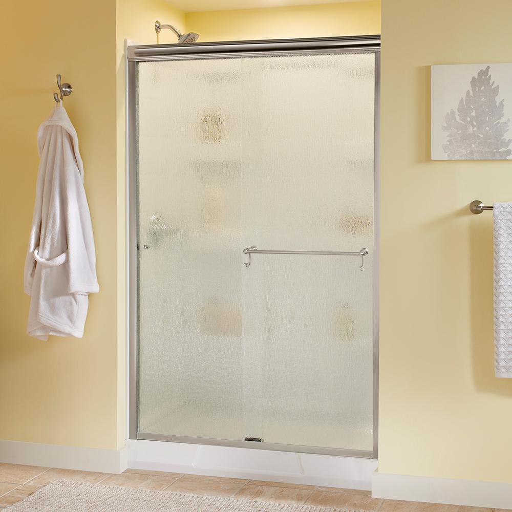 Portman 48 in. x 70 in. Semi-Frameless Sliding Shower Door in