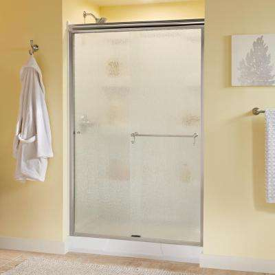 Portman 48 in. x 70 in. Semi-Frameless Sliding Shower Door in Nickel with Rain Glass
