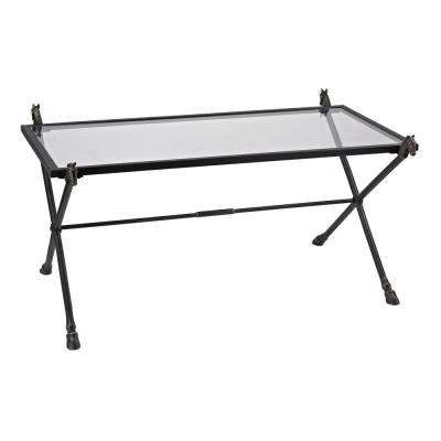 Thoroughbred Black Iron and Glass Coffee Table