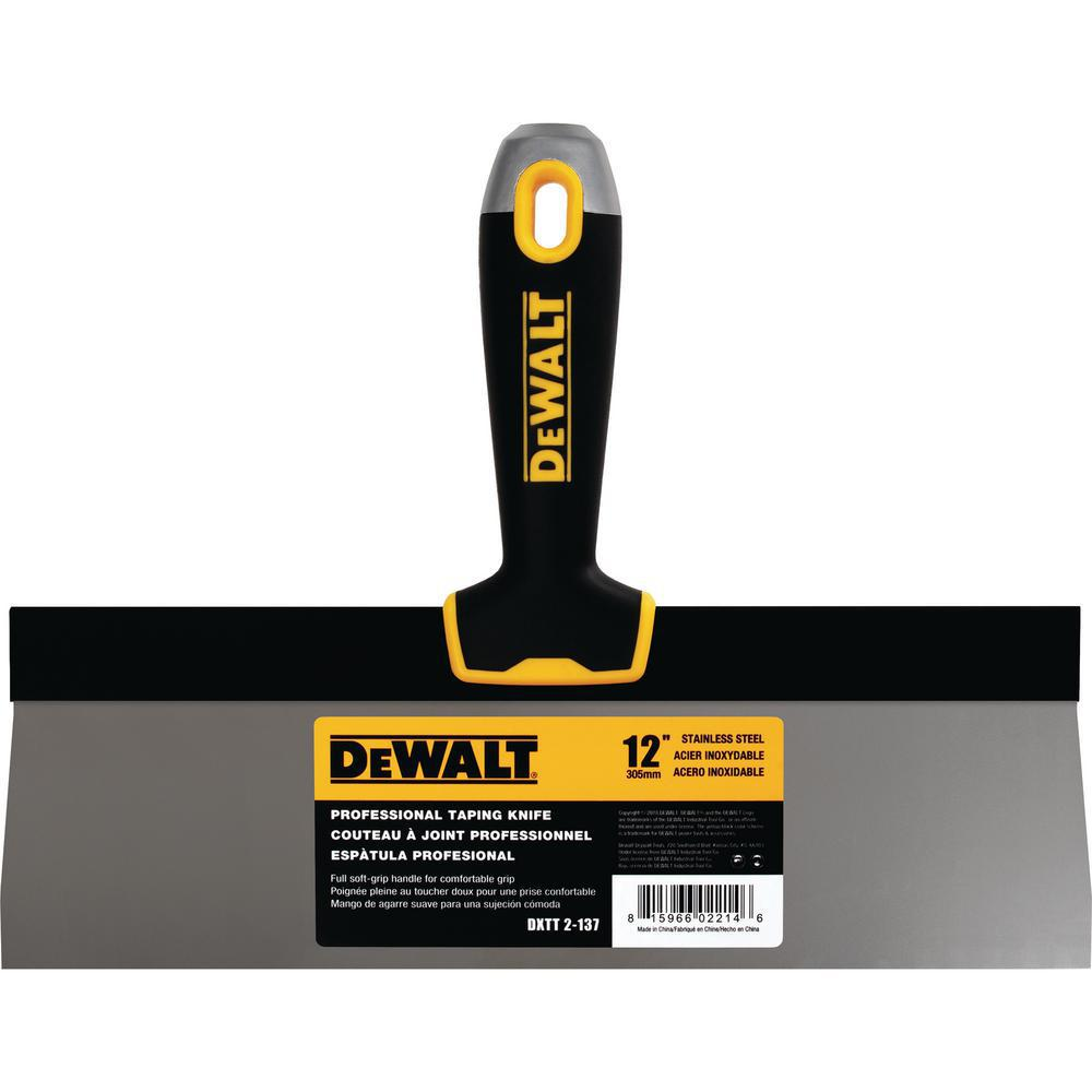 DEWALT 12 in. Stainless Steel Hammer-End Taping Knife with Soft Grip Handle