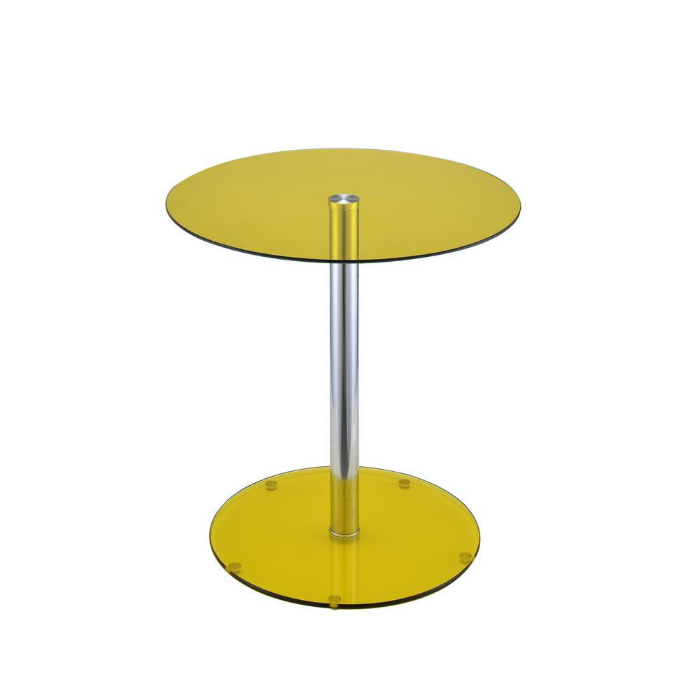 Acme furniture halley yellow glass and chrome side table