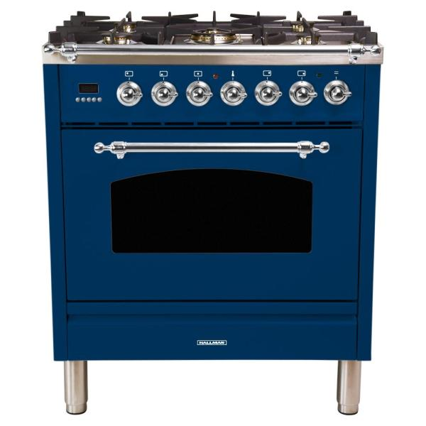 30 in. 3.0 cu. ft. Single Oven Italian Gas Range with True Convection, 5 Burners, Chrome Trim in Blue