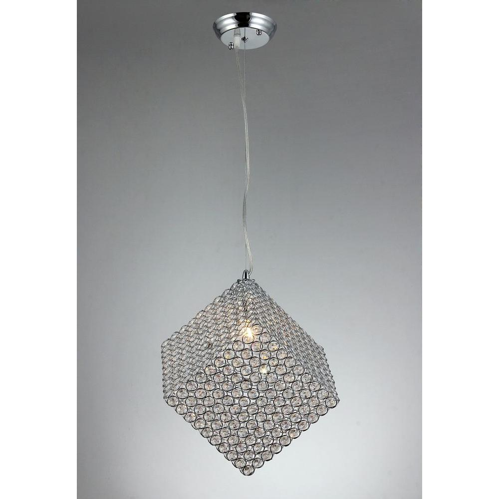 Chrome Indoor Cubic Crystal Chandelier with Shade