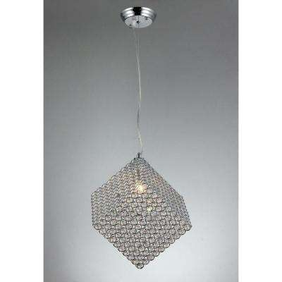 Grace 8 in. Chrome Indoor Cubic Crystal Chandelier with Shade