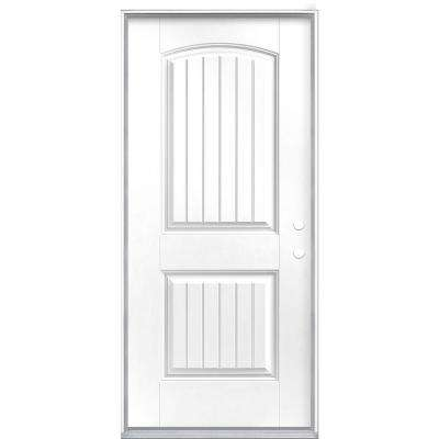 36 in. x 80 in. Cheyenne 2-Panel Left Hand Inswing Painted Smooth Fiberglass Prehung Front Exterior Door No Brickmold