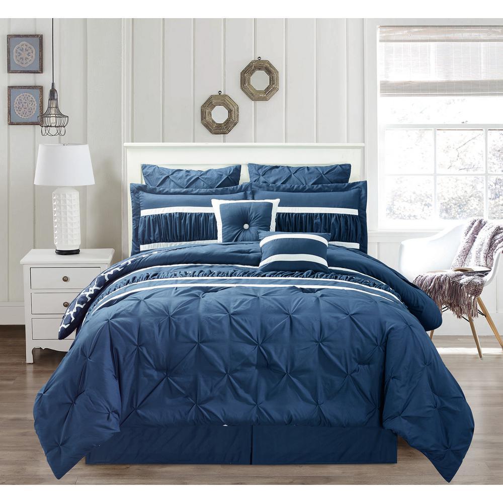 Marlin 10 Piece Queen Comforter Set in Navy