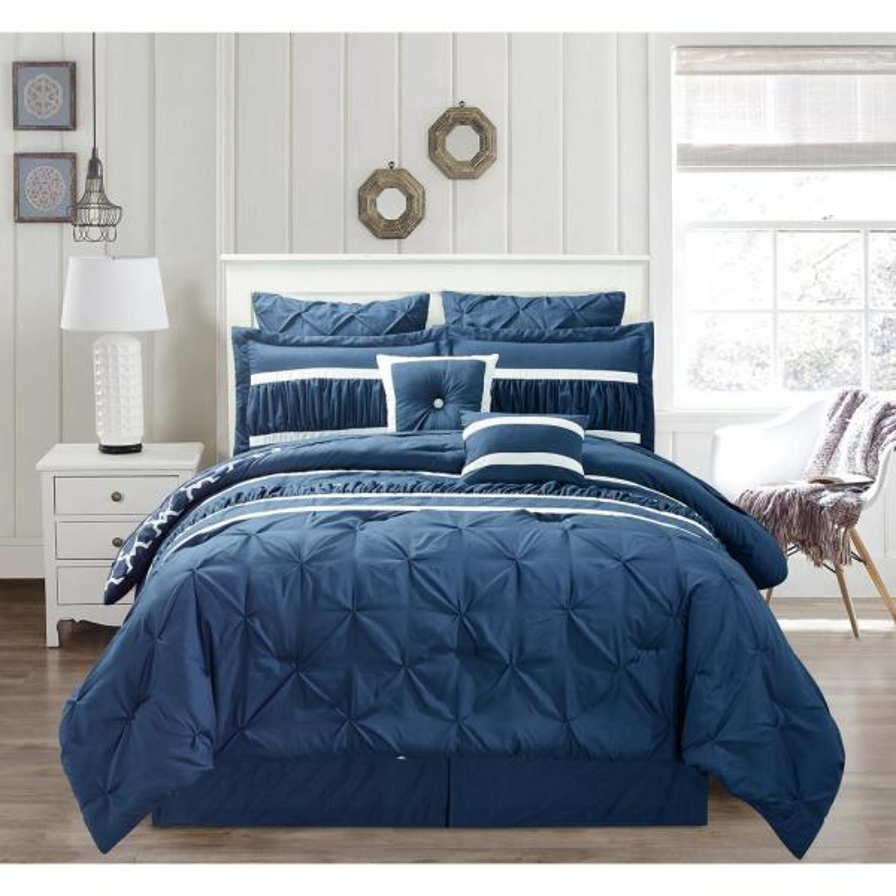 Marlin 10-Piece Navy Queen Comforter Set
